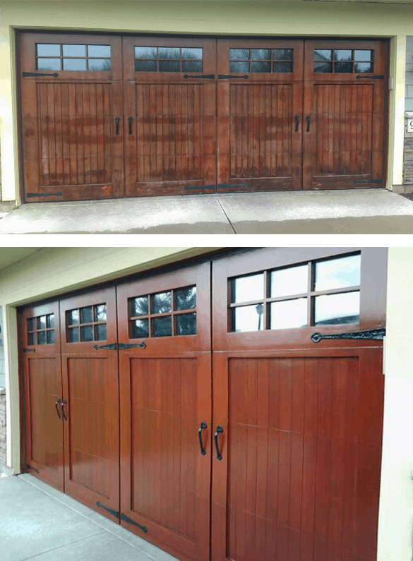 Wood Garage Doors Before and After