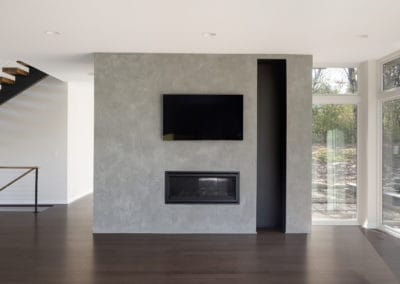 cement fireplace, plaster, plaster fireplace, feature wall