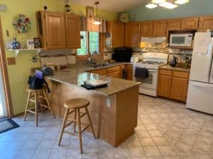 oak kitchen cabinets, kitchen cabinet refinish, painted cabinets, painter, paint, minneapolis